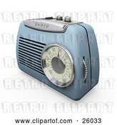 Clip Art of Retro Blue Radio with a Station Dial, on a White Surface by KJ Pargeter