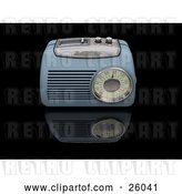 Clip Art of Retro Blue Radio with a Station Tuner, on a Reflective Black Surface by KJ Pargeter