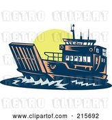 Clip Art of Retro Boat at Sunset by Patrimonio
