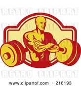 Clip Art of Retro Bodybuilder with His Arms Crossed Overa Barbell Logo by Patrimonio