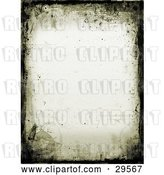 Clip Art of Retro Border of Black Grunge and Watermarks on an off White Stationery Background by KJ Pargeter