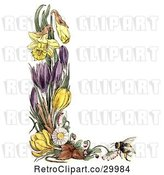 Clip Art of Retro Border of Daffodil Crocus Daisy Flowers and a Bee by Prawny Vintage