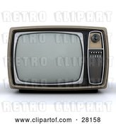 Clip Art of Retro Box TV with a Control Panel on the Side by KJ Pargeter