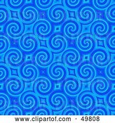 Clip Art of Retro Bright Blue Spiral Background Pattern by Arena Creative