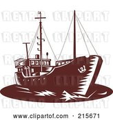 Clip Art of Retro Brown Coastal Trader Ship by Patrimonio