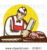 Clip Art of Retro Butcher Chopping Meat by Patrimonio