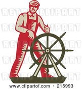 Clip Art of Retro Captain Steering a Helm by Patrimonio