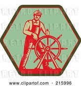 Clip Art of Retro Captain Steering a Helm on a Green Sign by Patrimonio