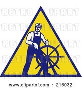 Clip Art of Retro Captain Steering a Helm on a Yellow Sign by Patrimonio