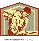 Clip Art of Retro Carpenter Chiseling by Patrimonio