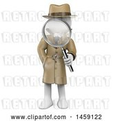 Clip Art of Retro Cartoon 3d White Guy Detective Holding a Magnifying Glass, on a White Background by Texelart