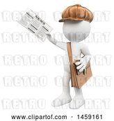 Clip Art of Retro Cartoon 3d White Guy Newsie, on a White Background by Texelart