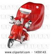 Clip Art of Retro Cartoon 3d White Guy Santa Riding a Scooter, on a White Background by Texelart
