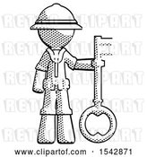 Clip Art of Retro Cartoon Explorer Guy Holding Key Made of Gold by Leo Blanchette