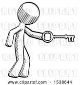 Clip Art of Retro Cartoon Guy with Big Key of Gold Opening Something by Leo Blanchette