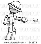 Clip Art of Retro Cartoon Halftone Explorer Ranger Guy with Big Key of Gold Opening Something by Leo Blanchette
