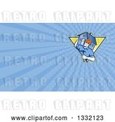 Clip Art of Retro Cartoon Male Home Builder Carrying a House and Hammer in a Shield and Blue Rays Background or Business Card Design by Patrimonio