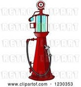 Clip Art of Retro Cartoon Red Old Fashioned Gas Pump by Djart