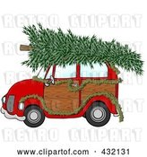 Clip Art of Retro Cartoon Red Woody Car Decorated with a Garland and a Christmas Tree on the Roof by Djart