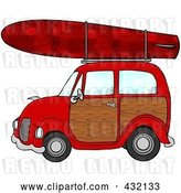 Clip Art of Retro Cartoon Red Woody Car with a Red Starry Surfboard on the Roof by Djart