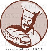 Clip Art of Retro Chef Holding Bread Logo by Patrimonio