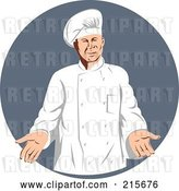 Clip Art of Retro Chef over a Gray Circle by Patrimonio