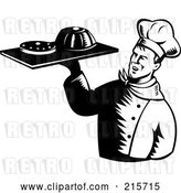 Clip Art of Retro Chef Serving Cakes by Patrimonio