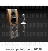 Clip Art of Retro Chrome Microphone Beside a Speaker on a Reflective Surface by KJ Pargeter