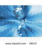 Clip Art of Retro Chrome Microphone over a Blue Bursting Background by KJ Pargeter