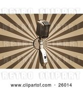 Clip Art of Retro Chrome Microphone over a Bursting Brown and Tan Background by KJ Pargeter