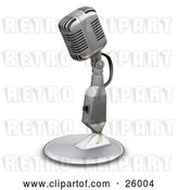 Clip Art of Retro Chrome Microphone with a Little Table Top Stand, on a White Background by KJ Pargeter