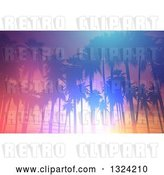 Clip Art of Retro Colorful Lit Tropical Sunset with Palm Trees by KJ Pargeter