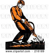Clip Art of Retro Construction Worker Operating a Jackhammer by Patrimonio