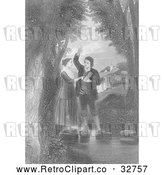 Clip Art of Retro Couple Taking a Vow on a River, in Black and White by Picsburg