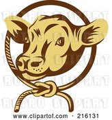 Clip Art of Retro Cow Face in a Rope Circle by Patrimonio