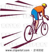 Clip Art of Retro Cyclist Going Fast by Patrimonio