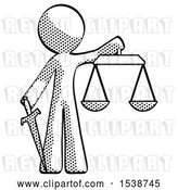 Clip Art of Retro Design Mascot Guy Justice Concept with Scales and Sword, Justicia Derived by Leo Blanchette