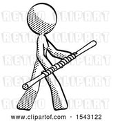 Clip Art of Retro Design Mascot Lady Holding Bo Staff in Sideways Defense Pose by Leo Blanchette