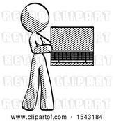 Clip Art of Retro Design Mascot Lady Holding Laptop Computer Presenting Something on Screen by Leo Blanchette