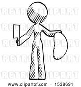 Clip Art of Retro Design Mascot Lady Holding Large Steak with Butcher Knife by Leo Blanchette