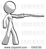 Clip Art of Retro Design Mascot Lady Pointing with Hiking Stick by Leo Blanchette