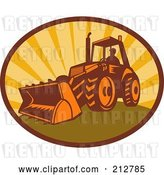 Clip Art of Retro Digger Bulldozer Logo by Patrimonio