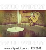 Clip Art of Retro Distressed Background of a Gramophone Player by KJ Pargeter