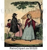 Clip Art of Retro Distressed Lady Gesturing to Her Yard and Her Family by Prawny Vintage