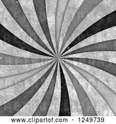 Clip Art of Retro Distressted Spiraling Grayscale Ray Background by Arena Creative