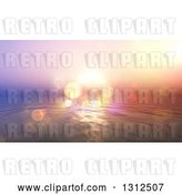 Clip Art of Retro Effect Ocean Sunset with Flares and Blur by KJ Pargeter