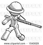 Clip Art of Retro Explorer Guy Bo Staff Action Hero Kung Fu Pose by Leo Blanchette
