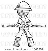 Clip Art of Retro Explorer Guy Bo Staff Kung Fu Defense Pose by Leo Blanchette