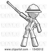 Clip Art of Retro Explorer Guy Bo Staff Pointing up Pose by Leo Blanchette