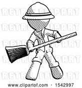 Clip Art of Retro Explorer Guy Broom Fighter Defense Pose by Leo Blanchette